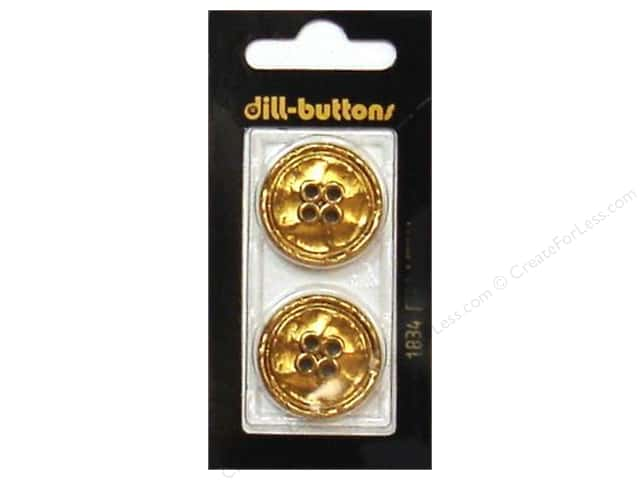 Dill 4 Hole Buttons 1 in. Gold Metal #1834 2pc.