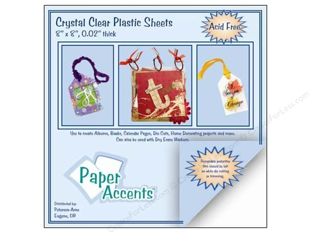 Plastic Sheet 8 x 8 in. by Paper Accents Clear .02 in. (25 sheets)