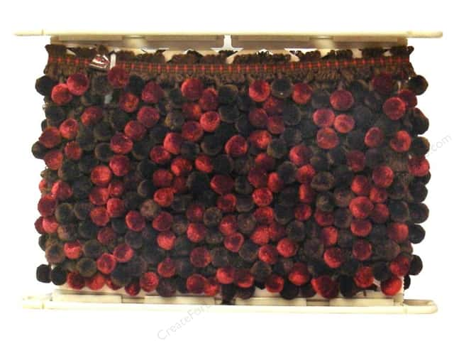 "Conso Chocolat Knitted Pom Braid 1 1/2"" Raspberry (12 yards)"