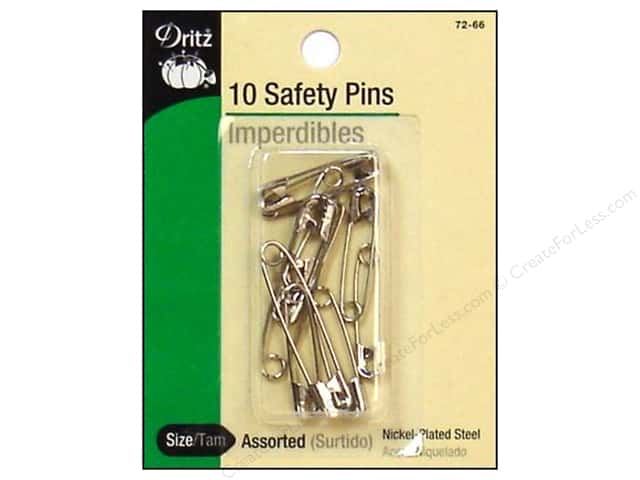 Dritz Safety Pins Assorted Nickel 10 pc.