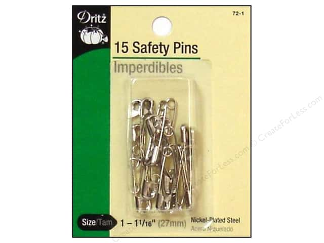 Safety Pins by Dritz 1 1/16 in. Nickel 15pc