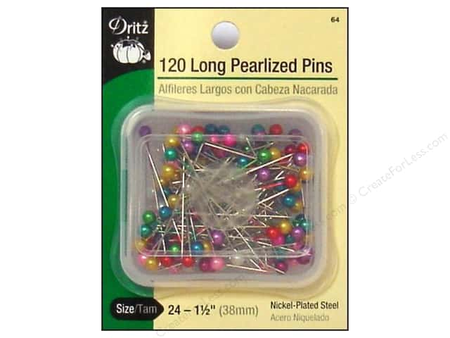 Long Pearlized Pins by Dritz Size 24 120 pc.