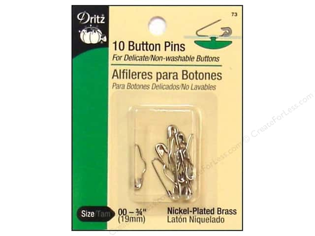 Dritz Button Pins 3/4 in. Nickel 10 pc.