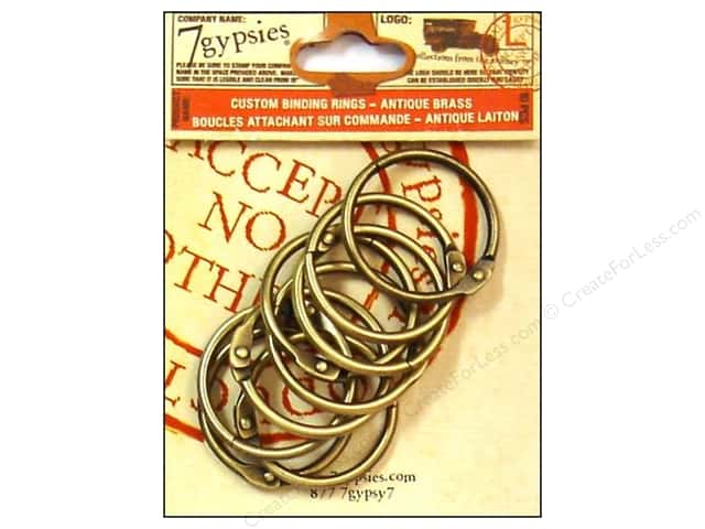 7 Gypsies Binding Rings 1 1/2 in. Antique Brass 10 pc.