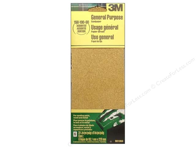 3M Aluminum Oxide Sandpaper 3 x 9 in. 6 pc. Assorted