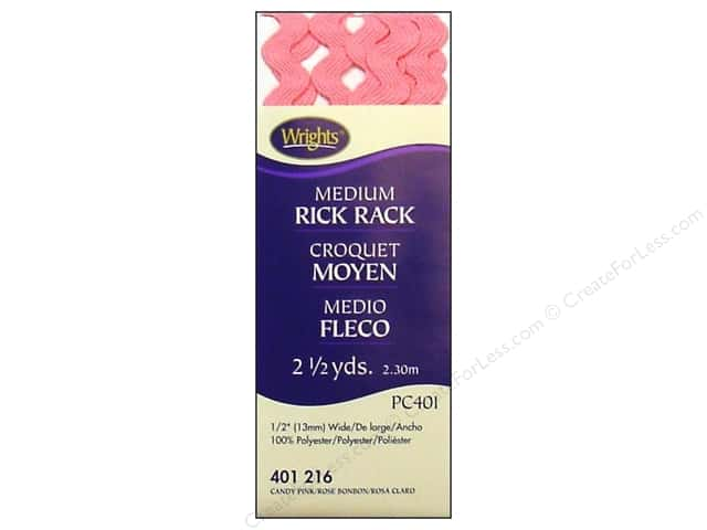 Wrights Rick Rack Medium 2 1/2 yd. Candy Pink