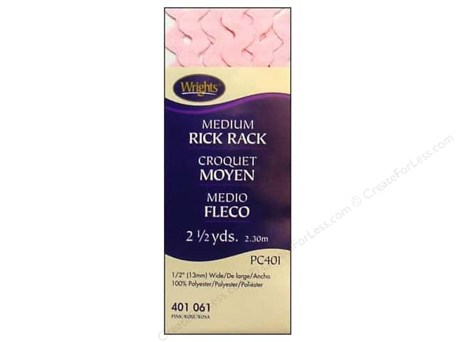 Wrights Rick Rack Medium 2 1/2 yd. Pink