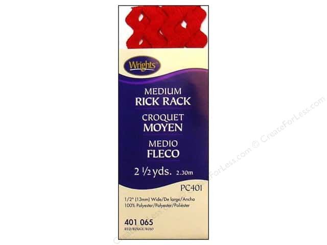 Wrights Rick Rack Medium 2 1/2 yd. Red
