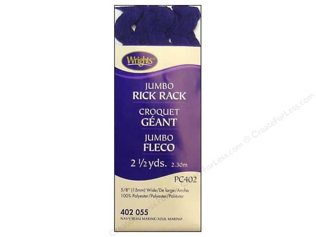 Wrights Jumbo Rick Rack 2 1/2 yd. Navy
