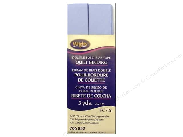 Wrights Double Fold Quilt Binding - Light Blue 3 yd.