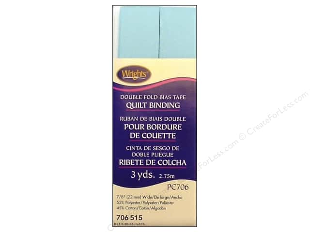 Wrights Double Fold Quilt Binding - Blue 3 yd.