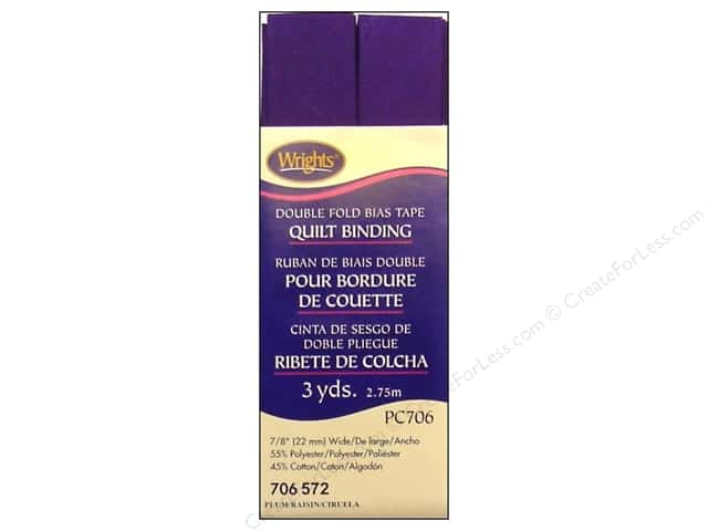 Wrights Double Fold Quilt Binding 3 yd. Plum