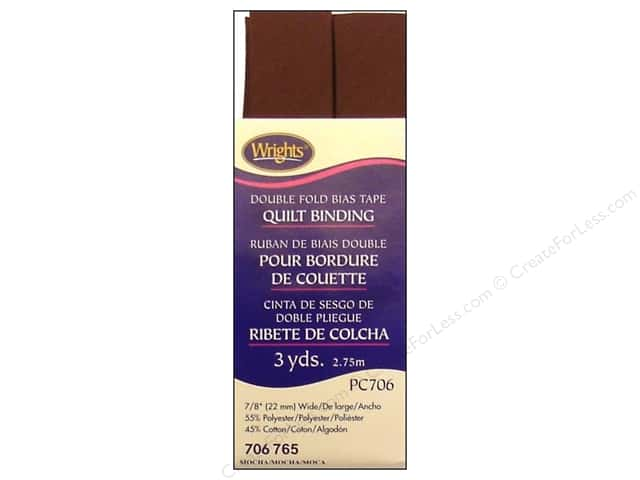 Wrights Double Fold Quilt Binding 3 yd. Mocha