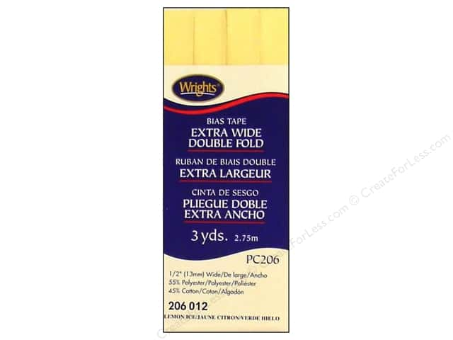 Wrights Extra Wide Double Fold Bias Tape - Lemon Ice 3 yd.