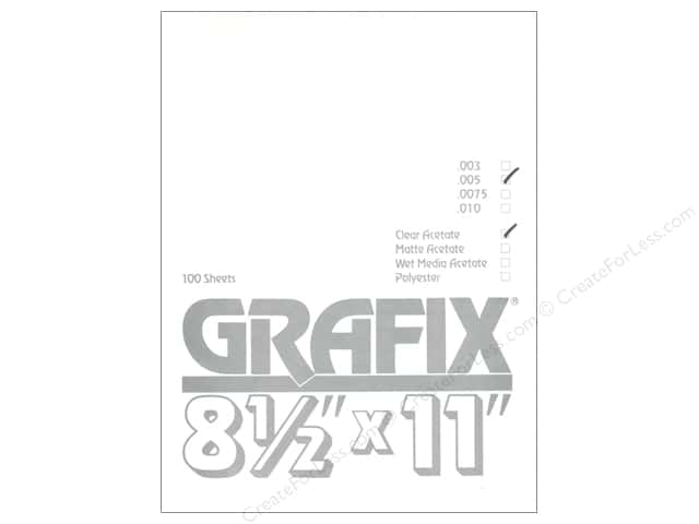 "Grafix Acetate Sheet .005"" 8.5""x 11"" Clear Bulk (100 sheets)"