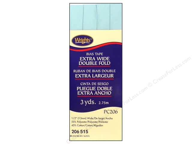 Wrights Extra Wide Double Fold Bias Tape - Blue 3 yd.