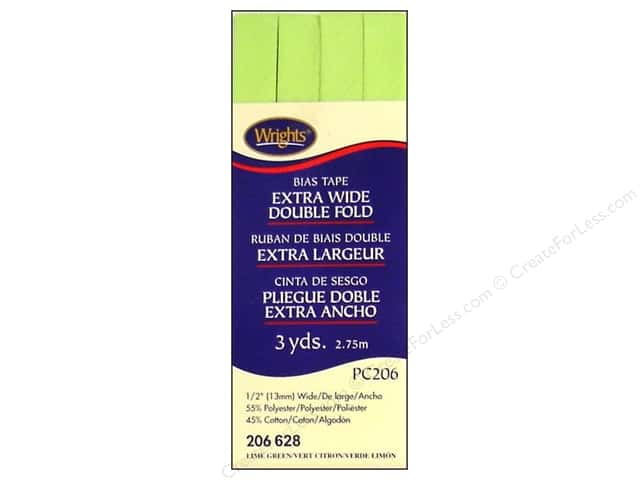 Wrights Extra Wide Double Fold Bias Tape - Lime Green 3 yd.