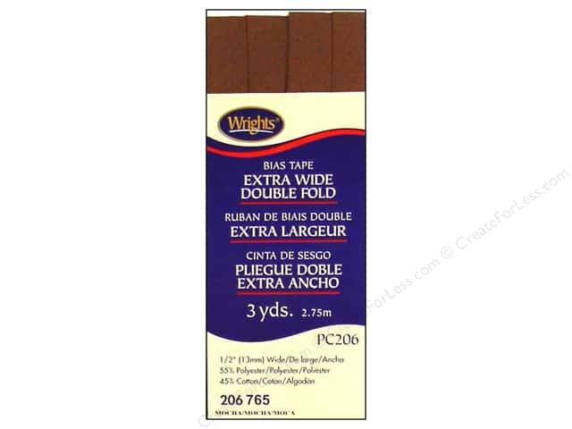 Wrights Extra Wide Double Fold Bias Tape 3 yd. Mocha