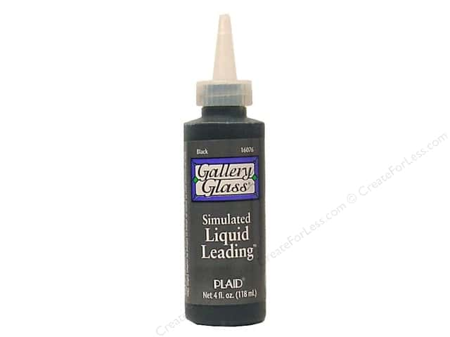 Plaid Gallery Glass Liquid Leading 4 oz Black