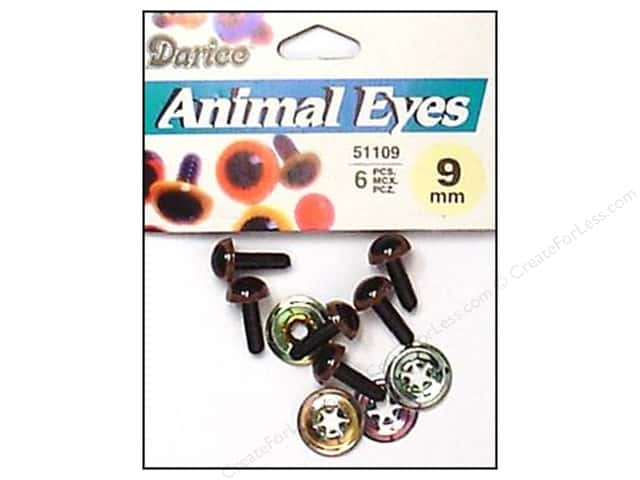 Darice Animal Eyes with Washers 9 mm Brown 6 pc.