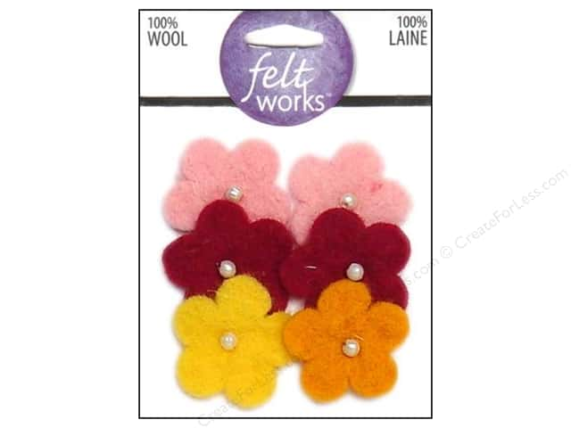 Dimensions 100% Wool Felt Embellishment Flowers with Pearls