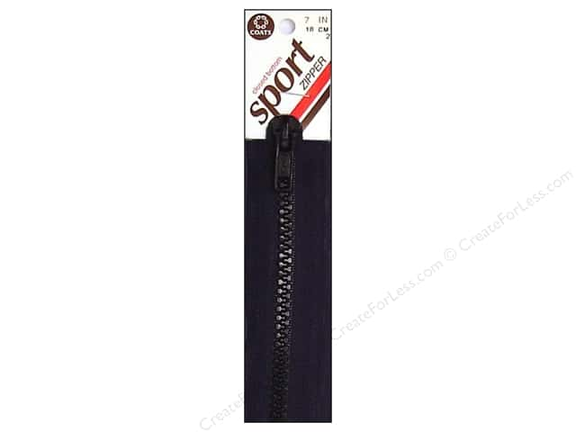 Coats Closed Bottom Molded Sport Zipper 7 in. Black