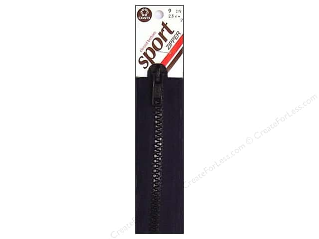 Coats Closed Bottom Molded Sport Zipper 9 in. Black