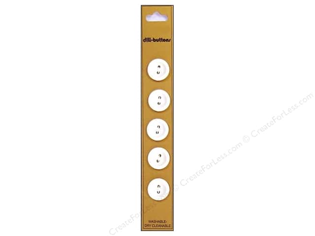 Dill 2 Hole Buttons 5/8 in. White 5pc.