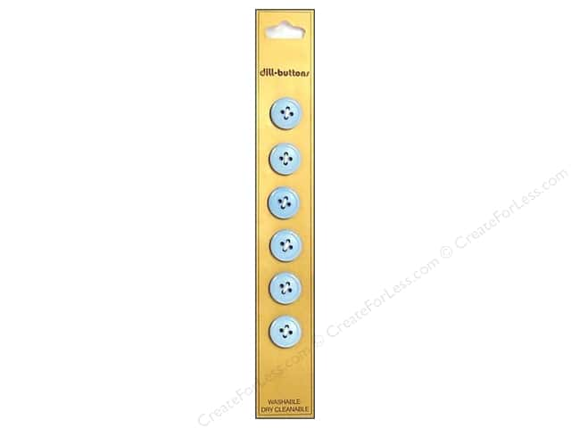 Dill 4 Hole Buttons 1/2 in. Light Blue 6pc