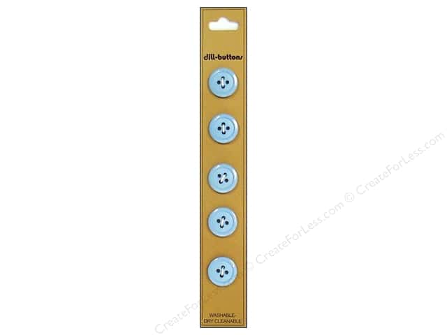 Dill 4 Hole Buttons 9/16 in. Light Blue 5pc