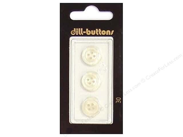 Dill 4 Hole Buttons 1/2 in. White #30 3pc.