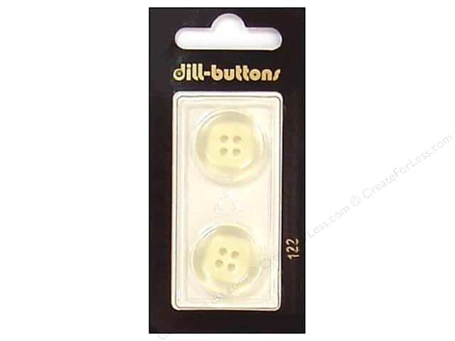 Dill 4 Hole Buttons 3/4 in.Transparent/White #122 2pc.