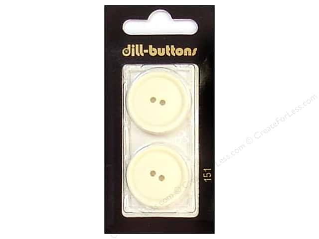 Dill 2 Hole Buttons 1 in. White #151 2pc.