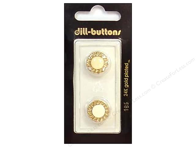 Dill Shank Buttons 9/16 in. Enamel Ivory/Gold #186 2pc.