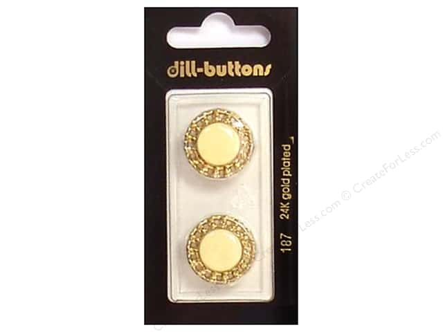 Dill Shank Buttons 13/16 in. Enamel Ivory/Gold #187 2pc.
