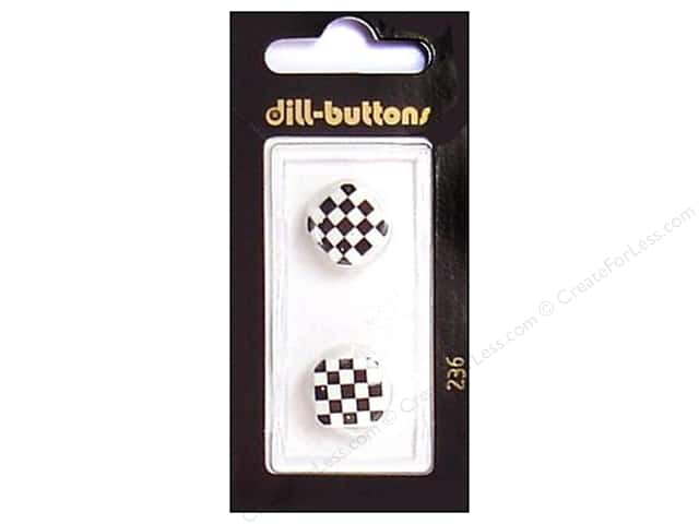Dill Shank Buttons 5/8 in. White and Black Check #236 2pc.