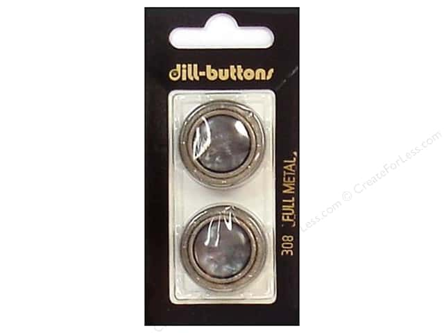 Dill Shank Buttons 1 in. Grey/Silver Metal #308 2pc.