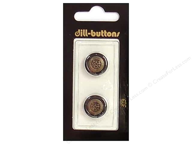 Dill Shank Buttons 5/8 in. Black/Antique Gold #309 2pc.