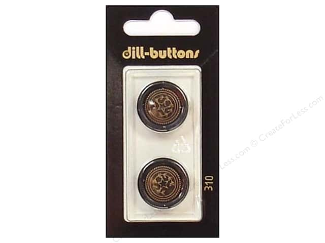 Dill Shank Buttons 13/16 in. Black/Antique Gold #310 2pc.