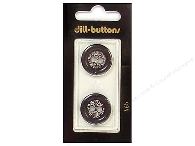 Dill 2 Hole Buttons 13/16 in. Black/Silver #465 2pc.