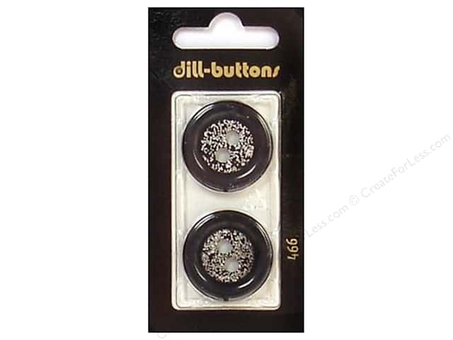 Dill 2 Hole Buttons 1 in. Black/Silver #466 2pc.