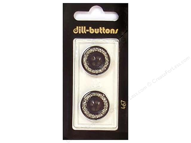 Dill 4 Hole Buttons 3/4 in. Enamel Black/Silver #467 2pc.