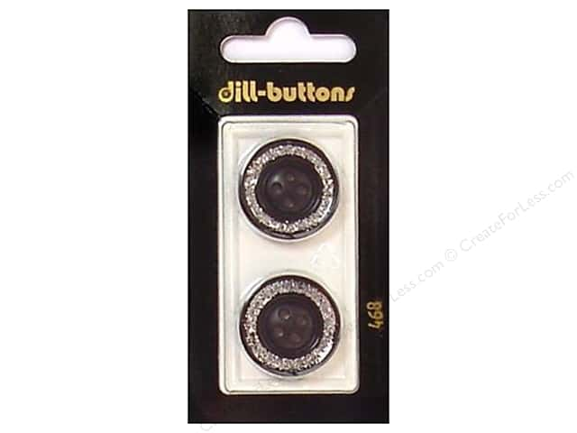 Dill 4 Hole Buttons 7/8 in. Enamel Black/Silver #468 2pc.