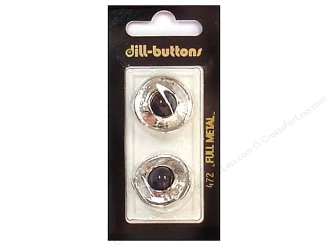Dill Shank Buttons 7/8 in. Black/Silver Metal #472 2pc.