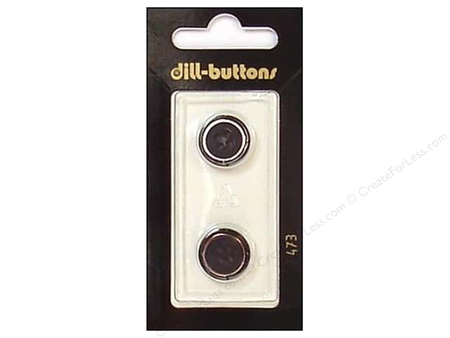 Dill 4 Hole Buttons 5/8 in. Black/Silver #473 2pc.