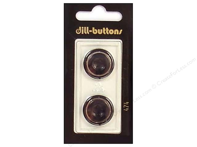 Dill 4 Hole Buttons 13/16 in. Black/Silver #474 2pc.
