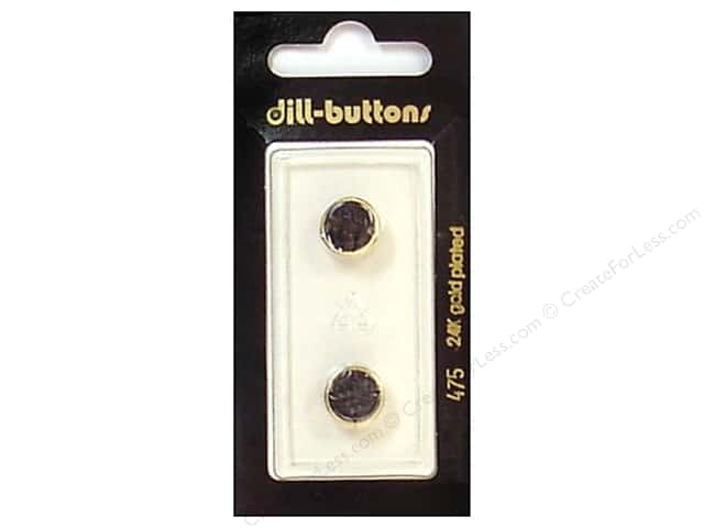 Dill Shank Buttons 7/16 in. Black/Gold #475 2pc.