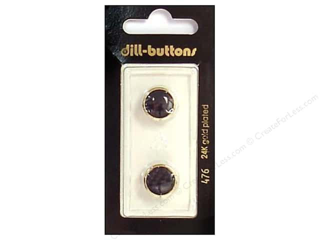Dill Shank Buttons 1/2 in. Black/Gold #476 2pc.