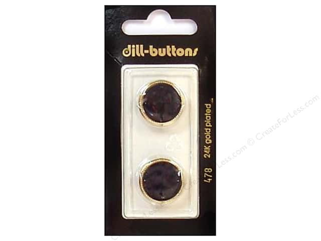 Dill Shank Buttons 11/16 in. Black/Gold #478 2pc.