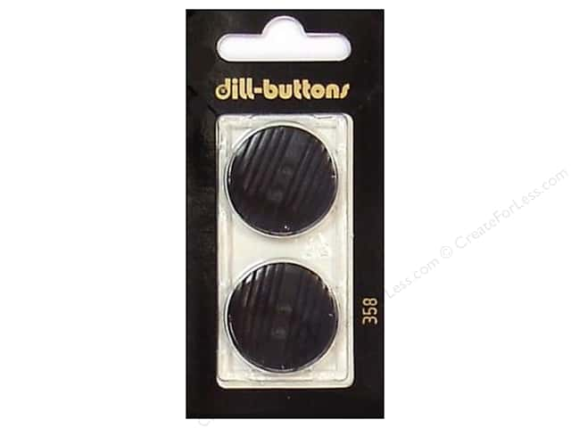 Dill 2 Hole Buttons 1 in. Black #358 2 pc.